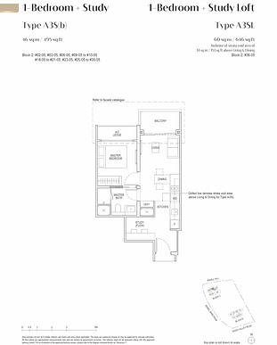 Irwell Hill Residences Floor Plan 1 bedroom with study